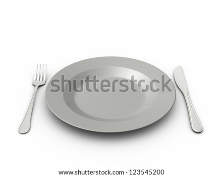 Empty plate, fork and knife, isolated on white background.