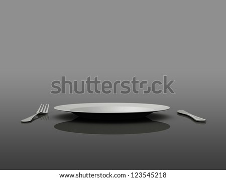 Empty plate, fork and knife, side view, on gray background.