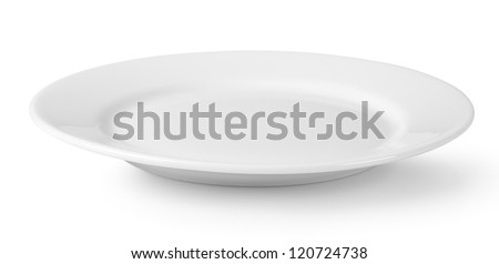 Empty plate isolated on a white background - stock photo