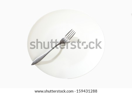 empty plate isolated on white - stock photo