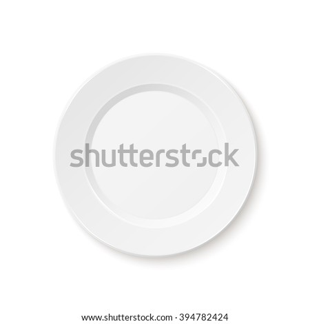 Empty plate, isolated on white background. - stock photo