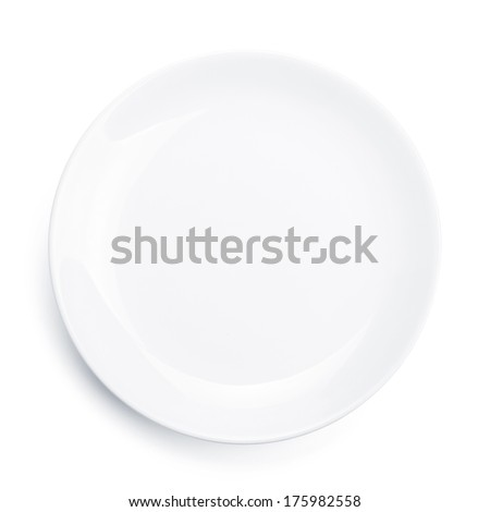Empty plate. Isolated on white background. View from above - stock photo