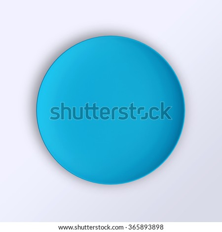 Empty plate. Isolated on white background. View from above. 3d illustration. - stock photo