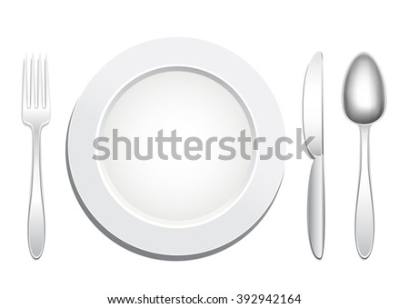 Empty plate, knife, spoon and fork on a white background. Tableware set. Dishes for a meal. Empty template to put your food on the plate. - stock photo