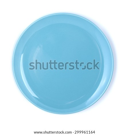 Empty plate of blue color on a white background.  - stock photo