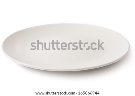 Empty plate on a white background - stock photo