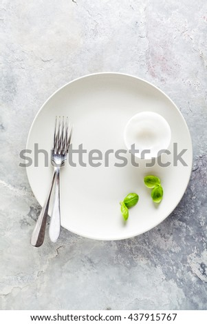 Empty Plate on grey stone background