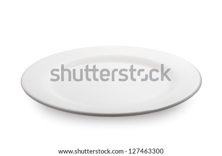 Empty plate on white background - stock photo