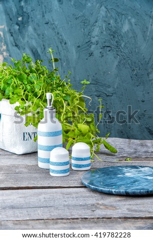 Empty plate,salt cellar, bottle of olive oil , fresh mint on wooden table on a light blue stone background. Tableware set. Dishes for a meal. Empty template to put your food on the plate. picnic - stock photo