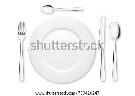 Empty plate, Spoon, teaspoon, fork, knife, clipping path, white background, isolated, top view from first perso