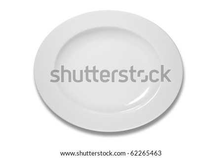 empty plate white background with shadow - stock photo