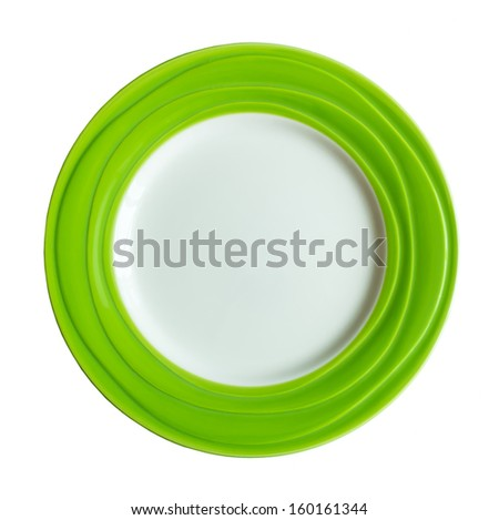 Empty Plate with colored border on white background - stock photo