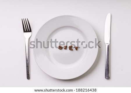 Empty Plate with Diet Caption Inside. White Background - stock photo