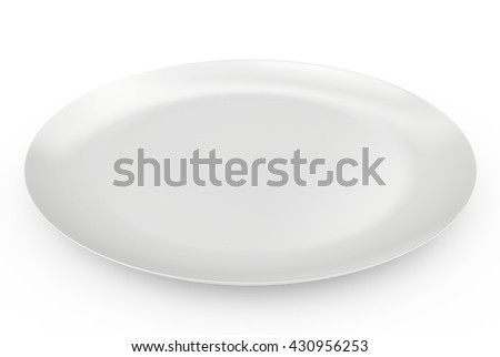 empty plate with shadow on white background. 3d rendering