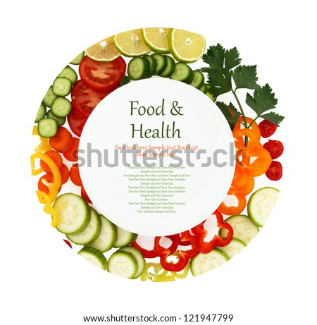 Empty plate with sliced vegetables around it. Restaurant menu cover