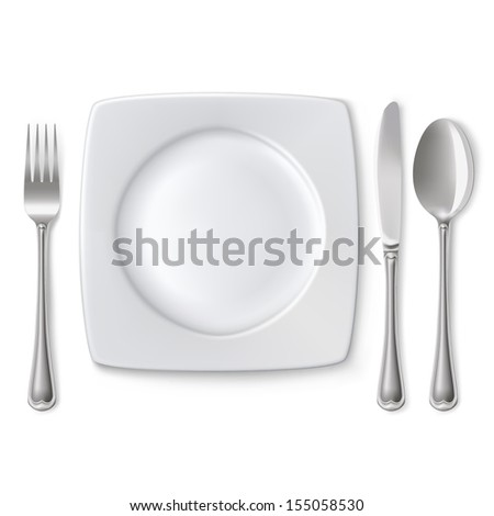 Empty plate with spoon, knife and fork on a white background.