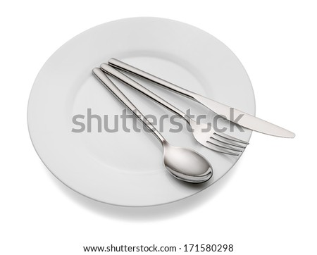 Empty plate with spoon, knife and fork on a white background