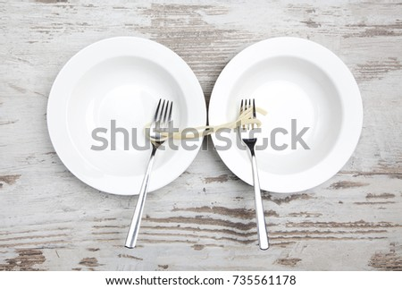 empty plates, food sharing
