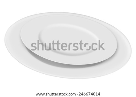 Empty plates isolated on a white background
