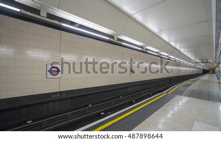 Empty platform of London Underground - LONDON / ENGLAND - SEPTEMBER 14, 2016
