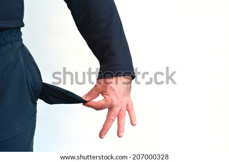 Empty pocket of a man without money on white background.Concept photo of unemployment, welfare, debt, depression, despair, - stock photo