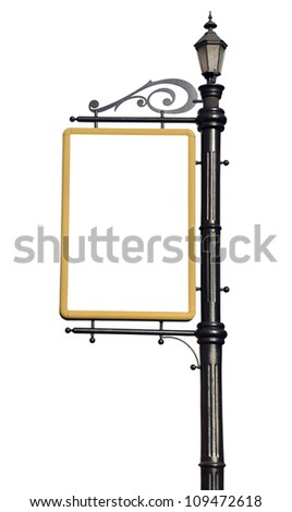 Empty post for the outdoor advertising - stock photo