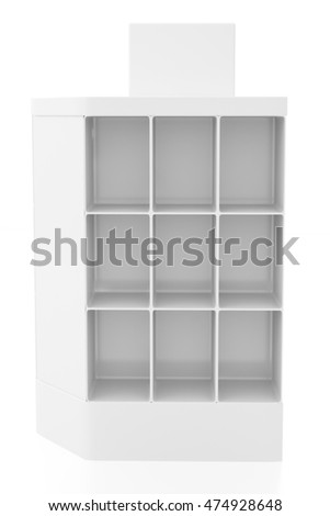 Empty product display stand. Isolated on white background, include clipping path. 3d render