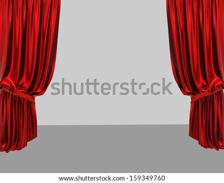 empty product presentation stage with red curtains and light grey background - stock photo