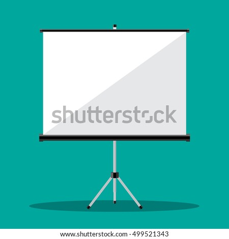 Empty Projection screen, Presentation board, illustration in flat style on green background Raster version