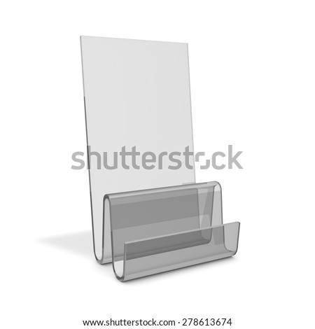 Empty promotional marketing product transparent stand for displaying printed materials. 3d illustration isolated on white background with copy space..