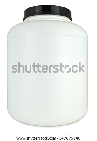 Empty Protein Powder Container - stock photo