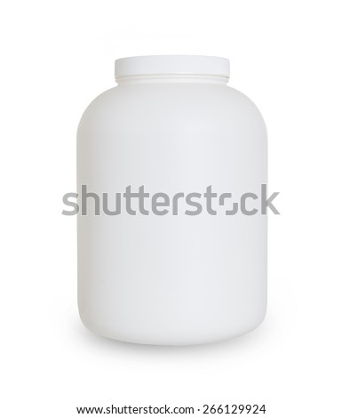 Empty protein powder container, isolated on white