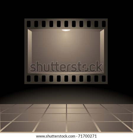 Empty publicity board with illumination made in the form of a photographic shot against a dark background - stock photo