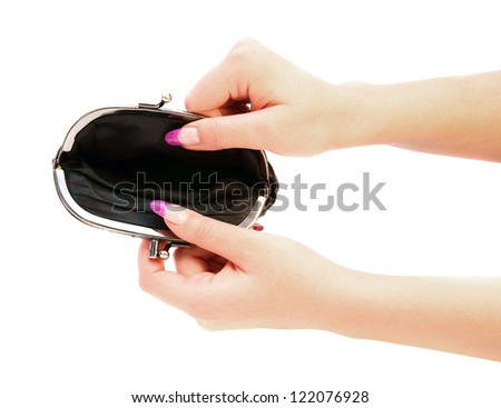 Empty purse in hands. - stock photo