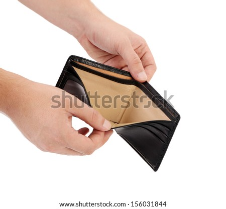 Empty purse in hands. Isolated on a white background. - stock photo