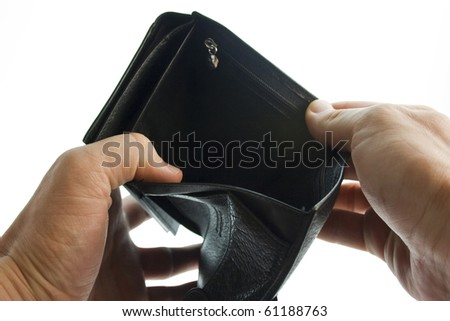Empty purse in the hands
