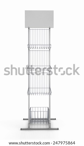 Empty rack for promotional products isolated on white background. Empty rack for promotional material front view. 3d render image. - stock photo