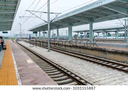 empty railways station just waiting train