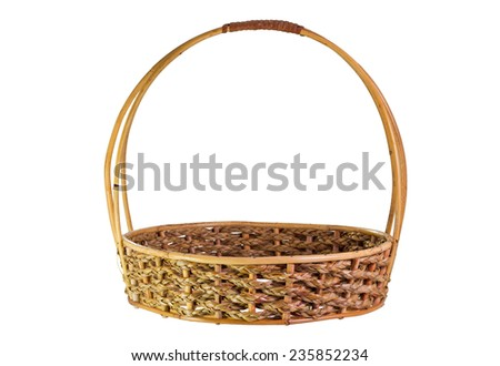 Empty Rattan Gift Basket on isolated white background