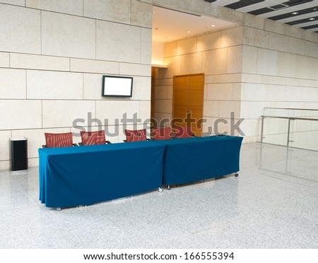 empty reception area in conference center. - stock photo