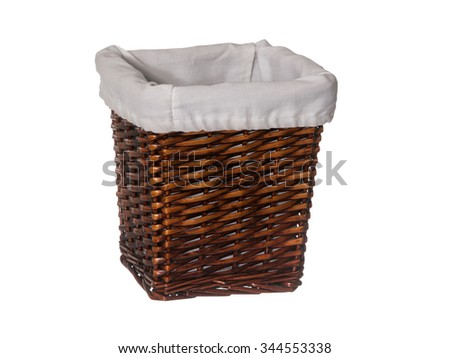 Empty rectangle wicker basket with liner isolated on white background