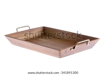 Empty rectangular wooden tray with brass handles for serving food or beverages, low angle isolated on white with copyspace - stock photo