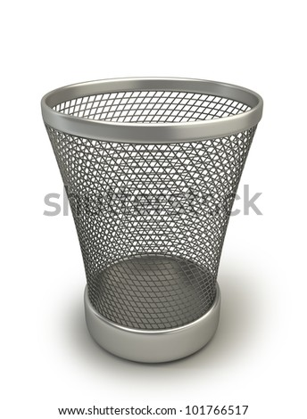 Empty recycle bin isolated on white background high resolution 3d render