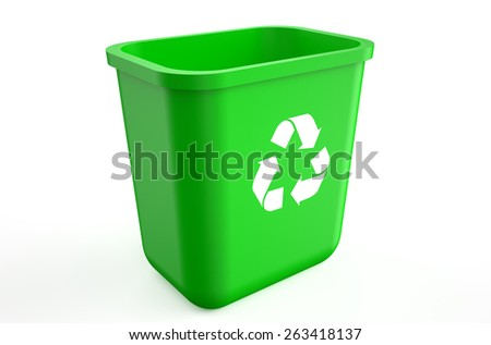 empty recycle green bin isolated on  white background