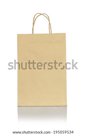 Empty recycle paper bag with coppy space Blank brown paper bag isolated on white background with clipping path. - stock photo