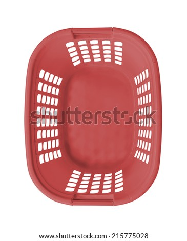 Empty red basket top view - stock photo