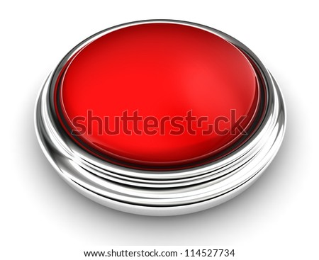 empty red button on white background. clipping path included - stock photo