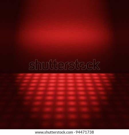 empty red disco scene with beam of light - interior background to insert text or design