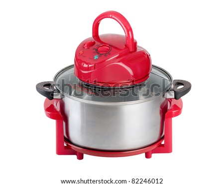 Empty red electric convection oven - stock photo