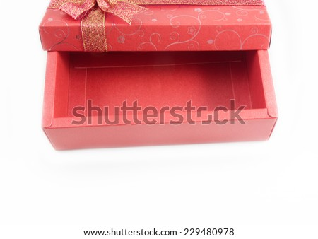 Empty Red Gift Box opened Isolated on white background